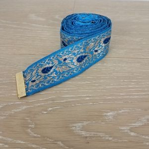 Long Cloth Satiny Wrap Belt Blue Metallic Gold